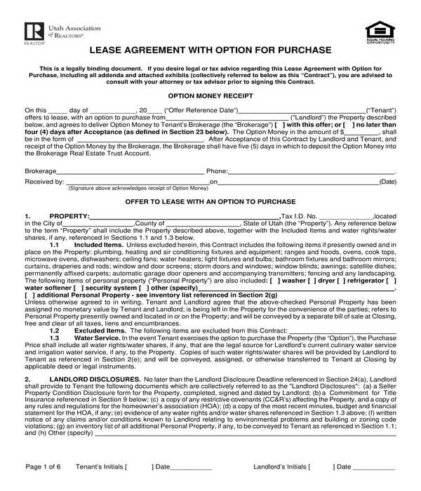 realtors lease agreement with purchase option form