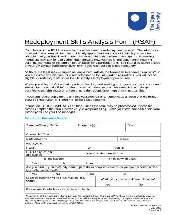 redeployment skills analysis form