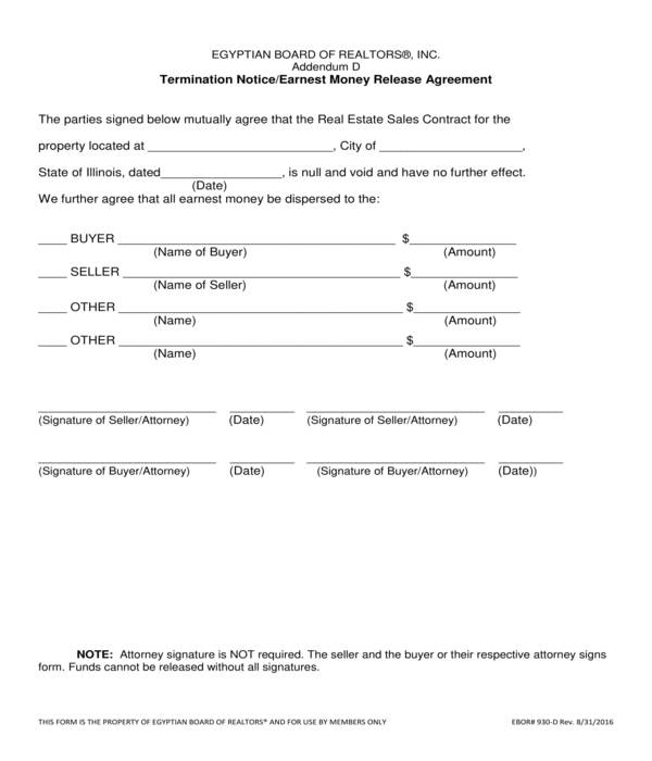 FREE 7+ Release of Earnest Money Forms in PDF