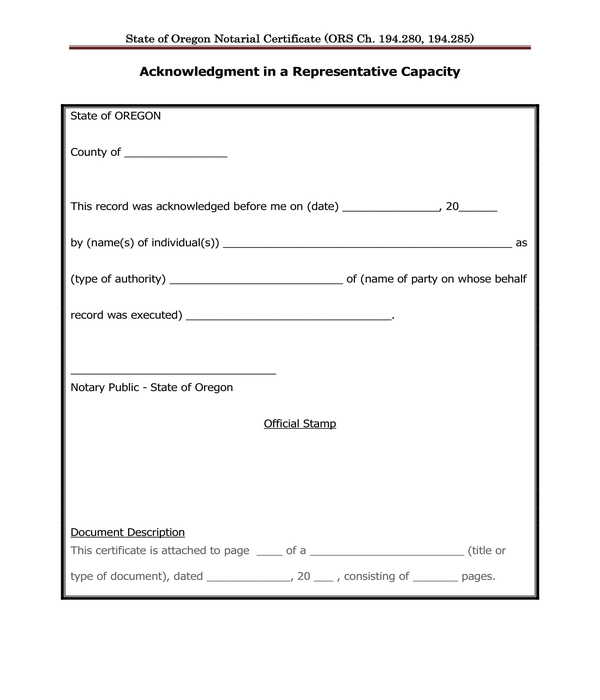 representative capacity notary acknowledgment form