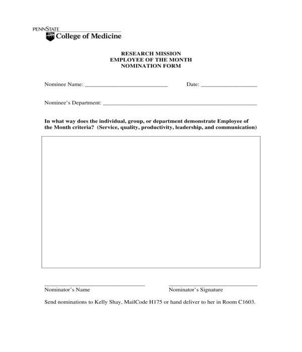 research employee of the month nomination form