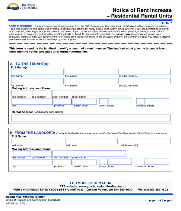 residential rental units notice of rent increase form
