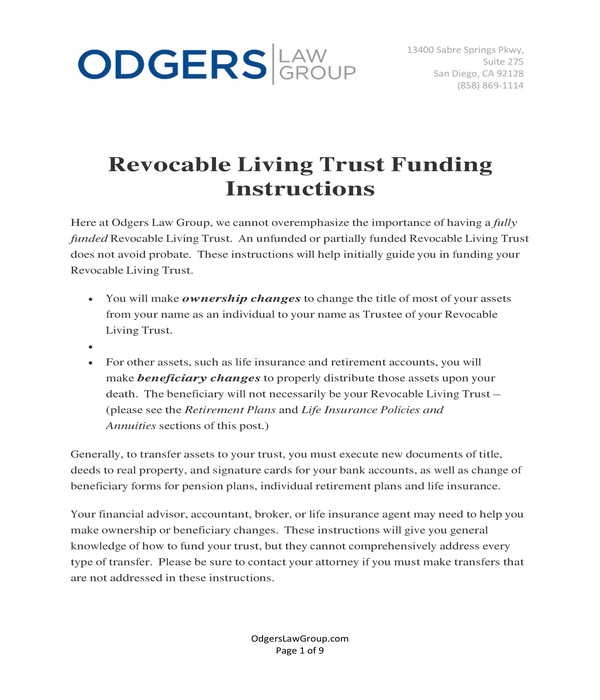 revocable living trust funding instructions form
