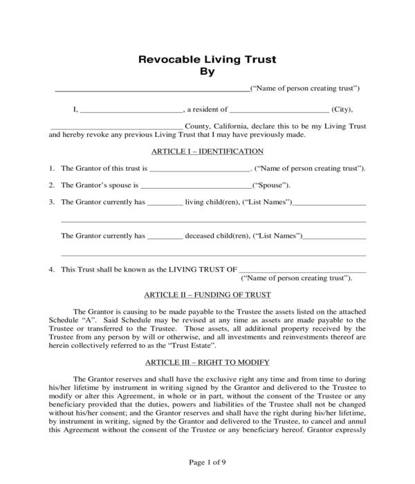 revocable living trusts form sample