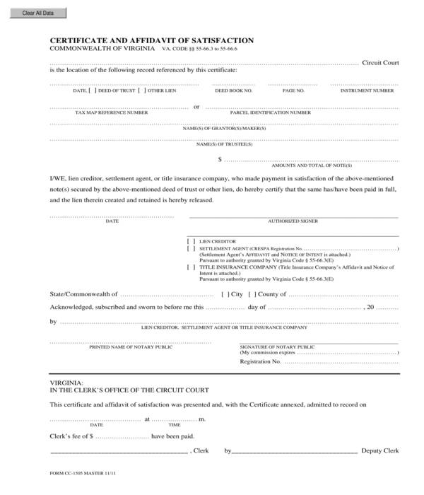 satisfaction of mortgage certificate and affidavit form