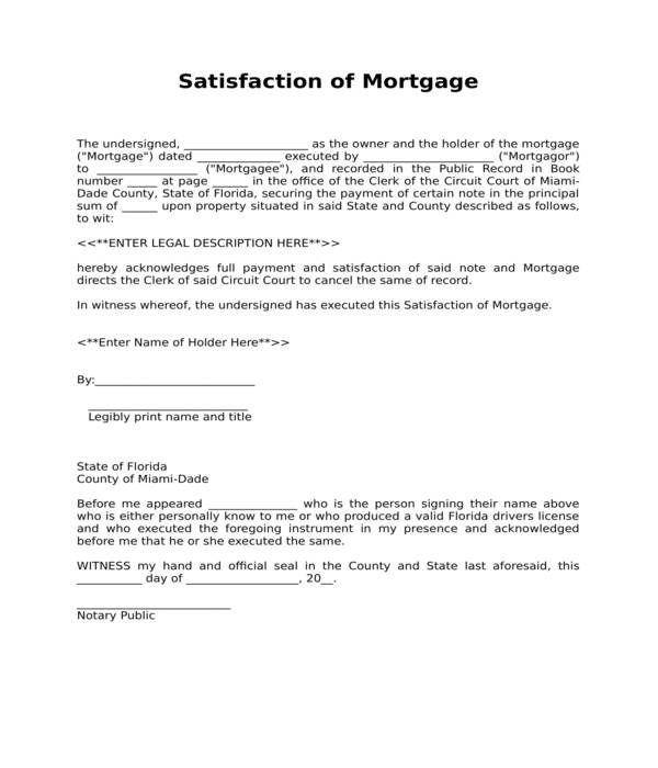 satisfaction of mortgage form in doc