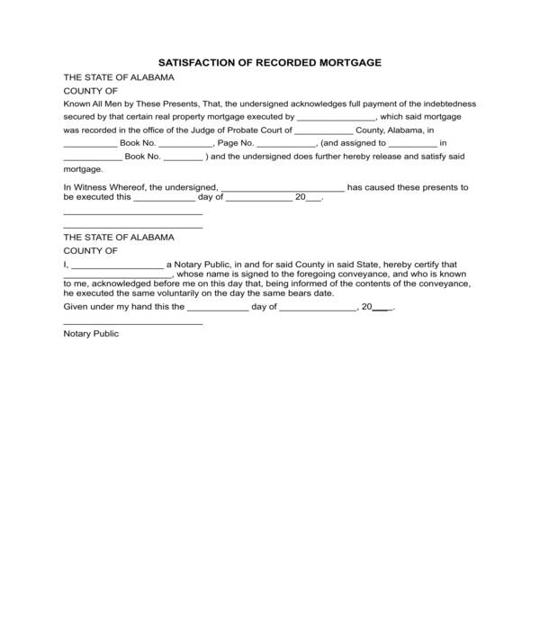 satisfaction of recorded mortgage form