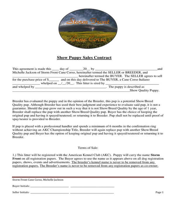 show puppy dog bill of sale form