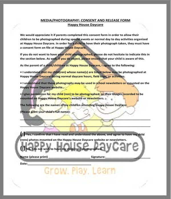 simple daycare media photography consent release form