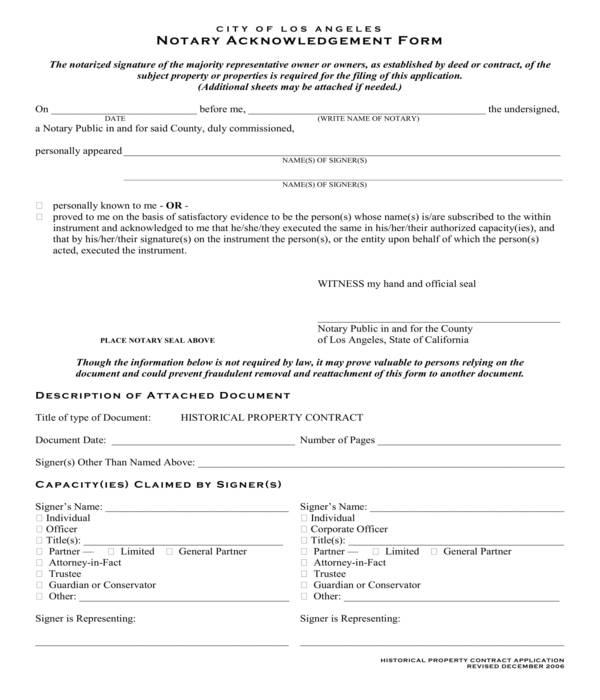 simple notary acknowledgment form