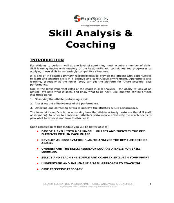 skills analysis and coaching form