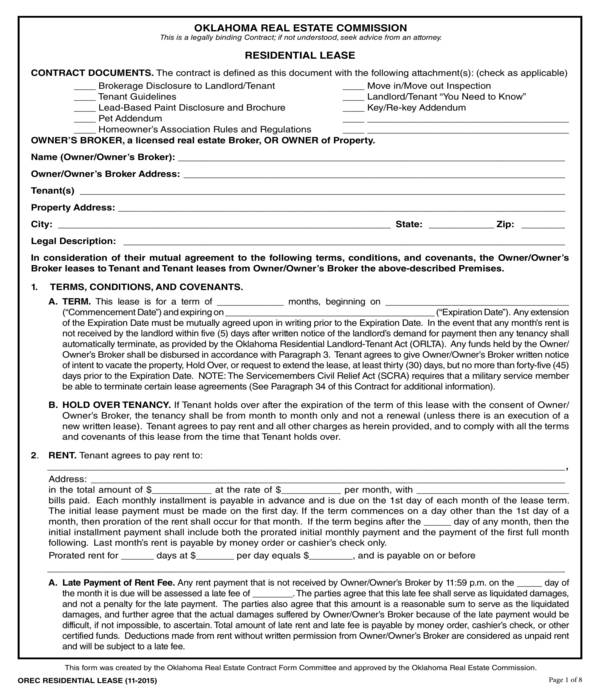 standard real estate residential lease agreement form