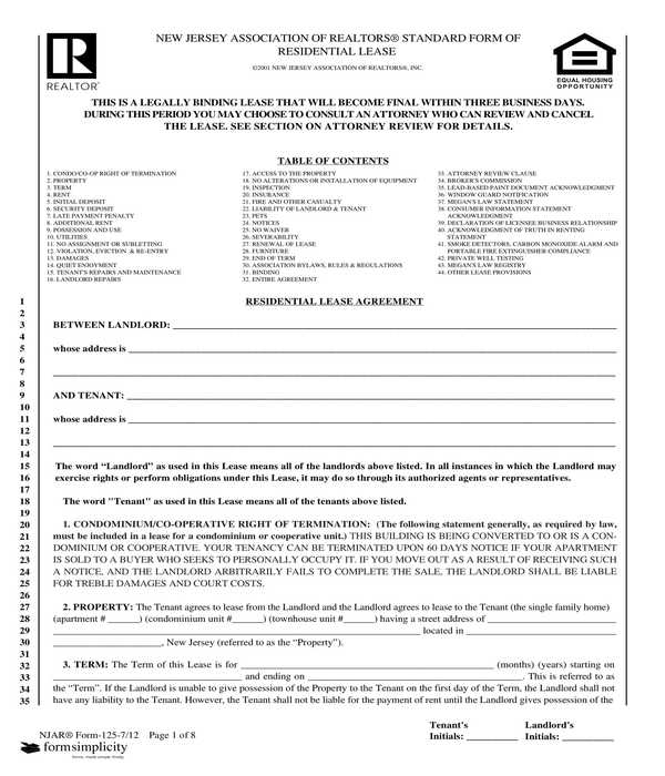 standard realtors residential lease contract agreement form