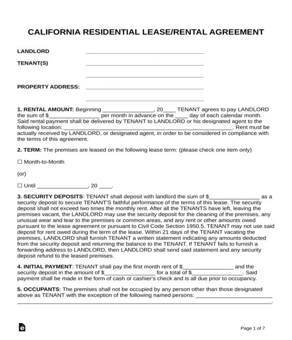 Free 5 Standard Residential Lease Agreement Forms In Pdf Doc