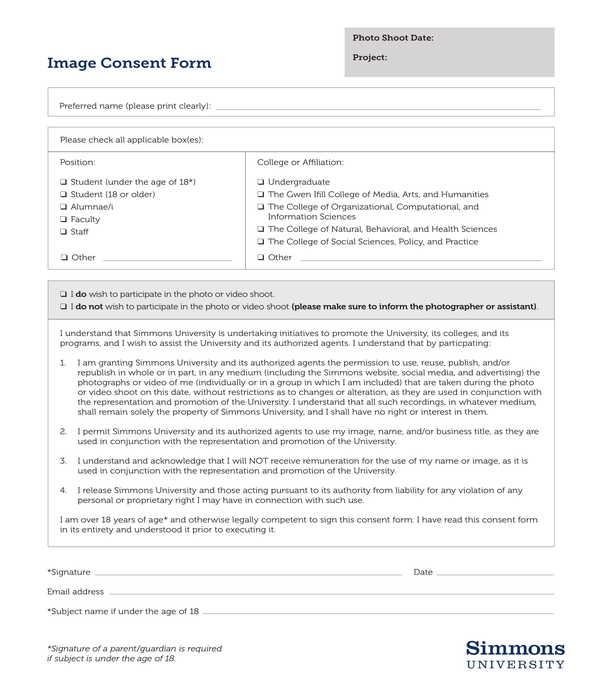 university employee photo image consent release form