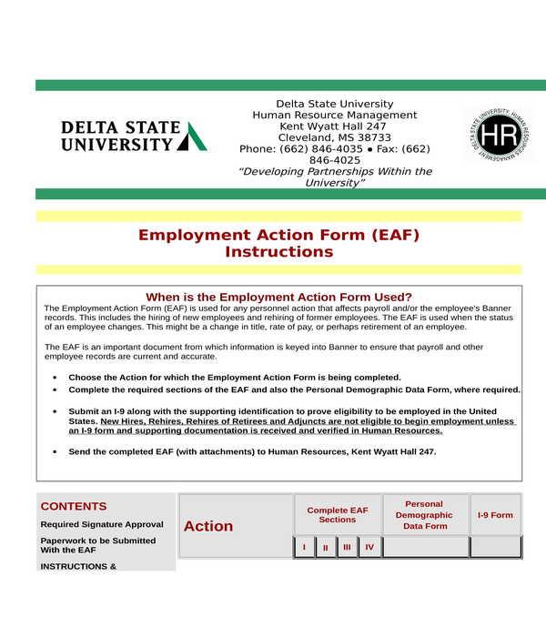 university employment personnel action form