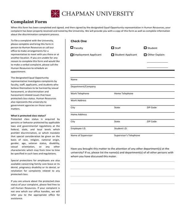 university hr complaint form