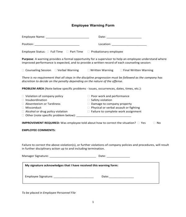work employee warning form