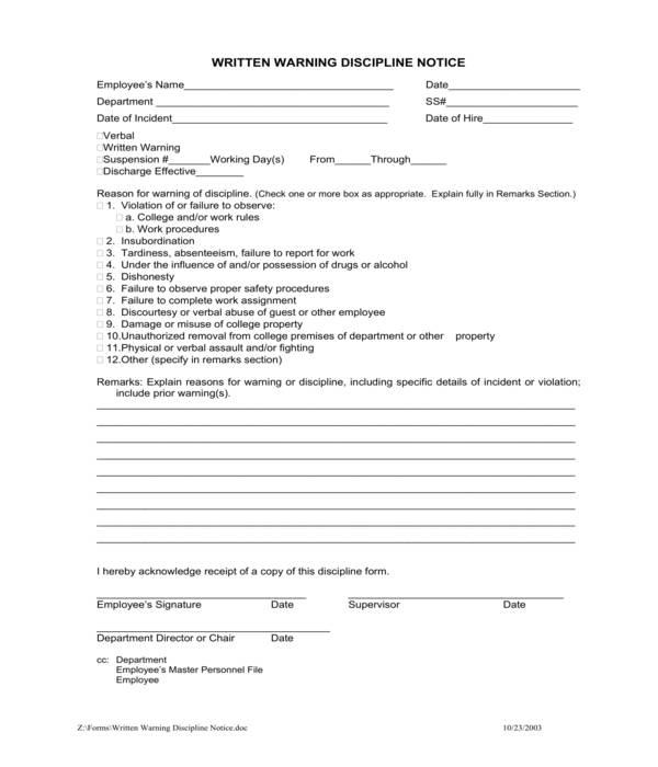 work written warning discipline notice form