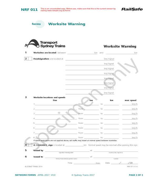 worksite warning form sample