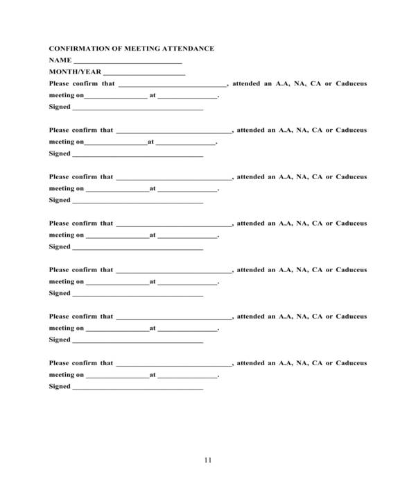aa meeting attendance confirmation form