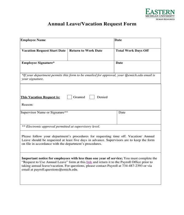 annual leave vacation request form