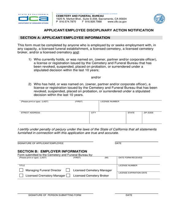 applicant and employee disciplinary action notification form