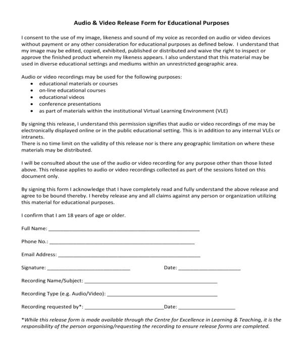 audio and video release form
