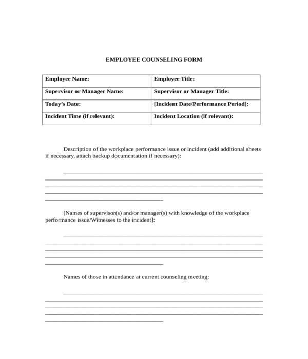 basic employee counseling form