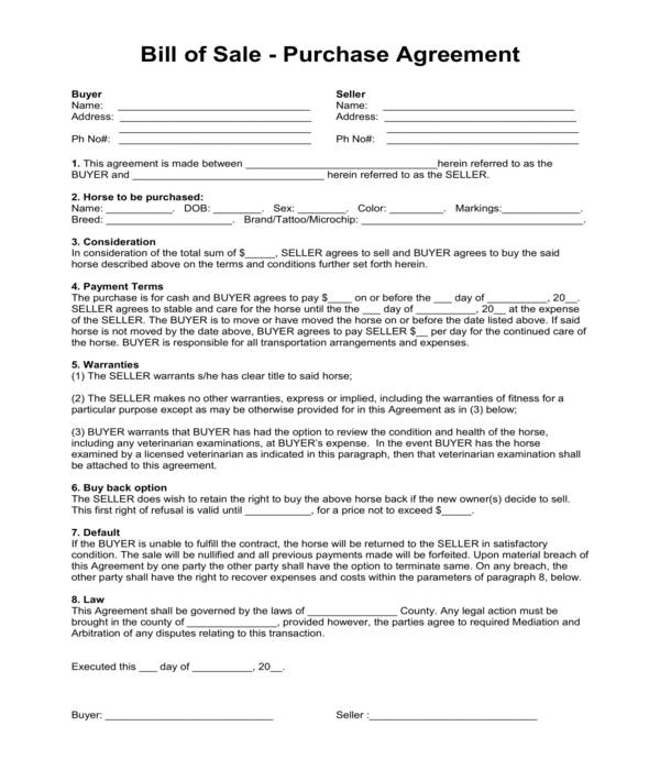 basic horse bill of sale form