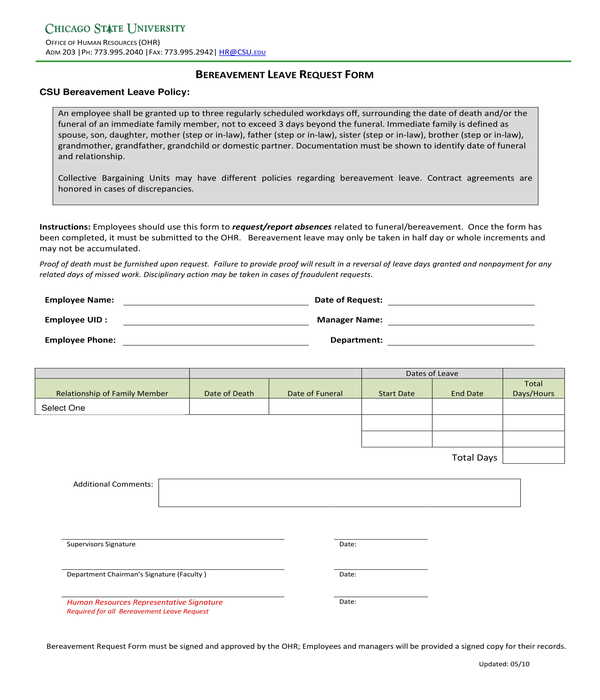 bereavement leave request form