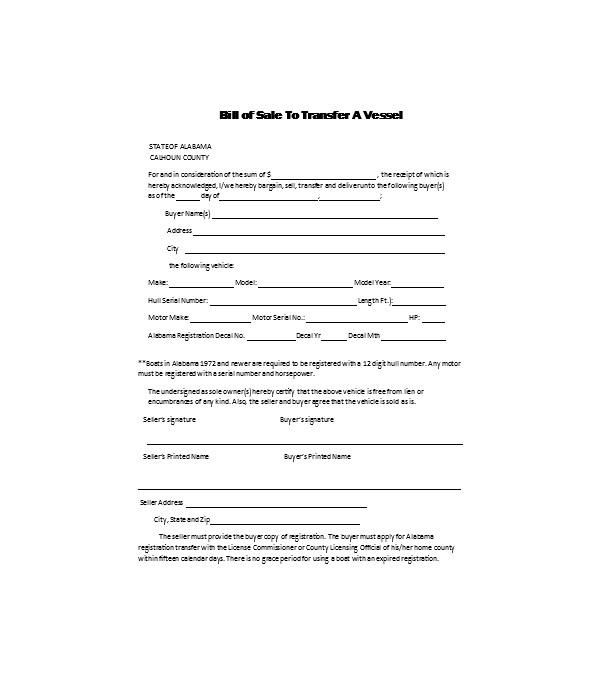 boat bill of sale transfer form