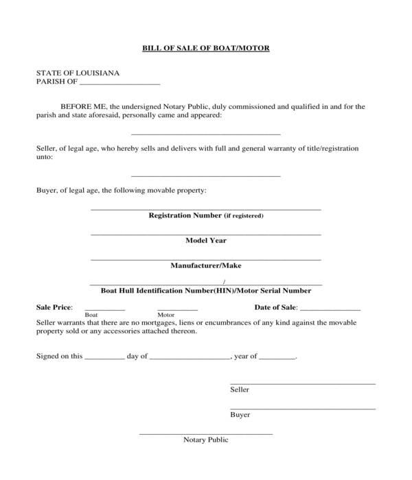 boat motor bill of sale form