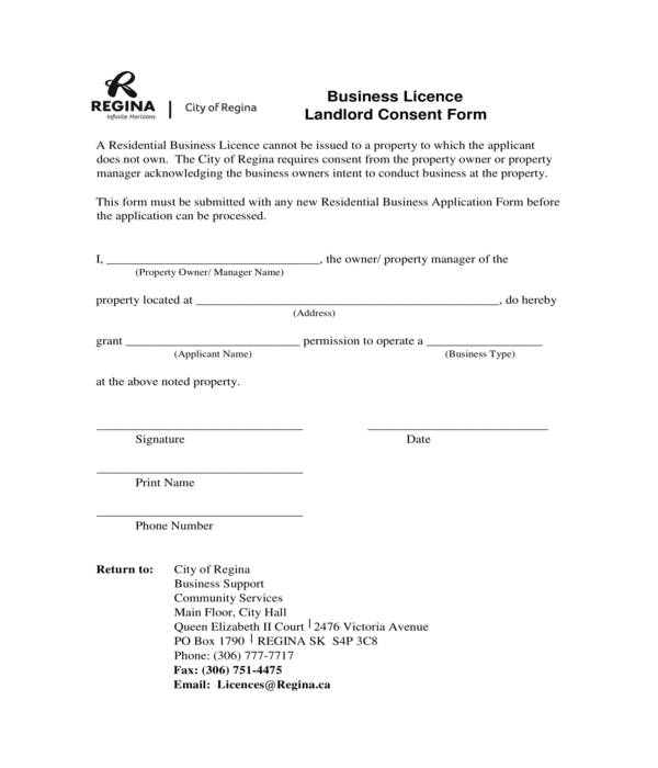 business license landlord consent form