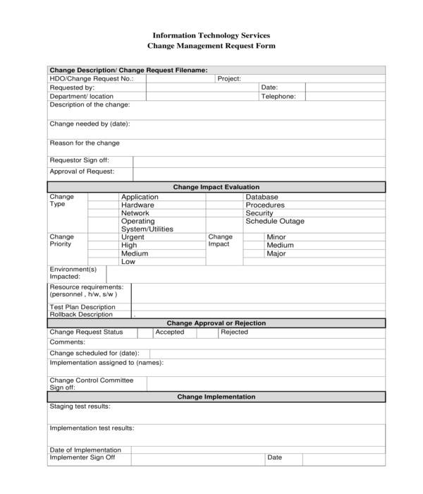 change management request form