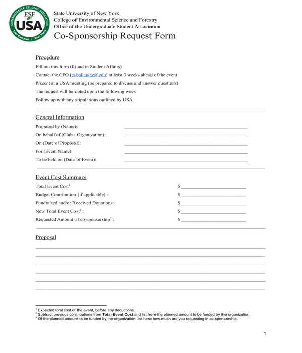 co sponsorship request form