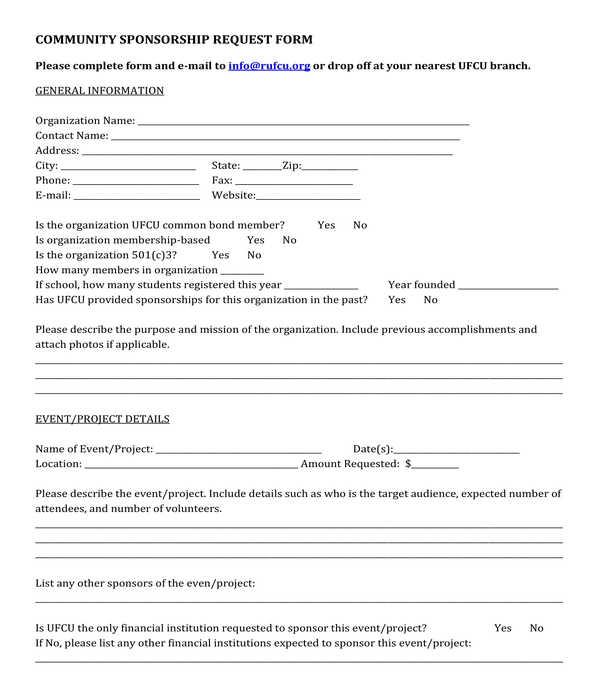community sponsorship request form