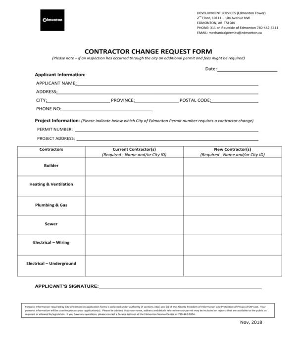 contractor change request form
