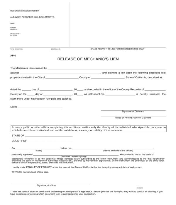 contractor mechanics lien release form sample