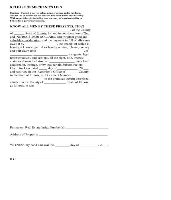 contractor mechanics lien release short form