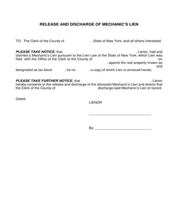 contractor mechanics lien release and discharge form