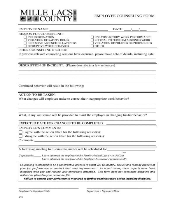 county employee counseling form