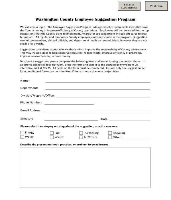 county employee suggestion program form