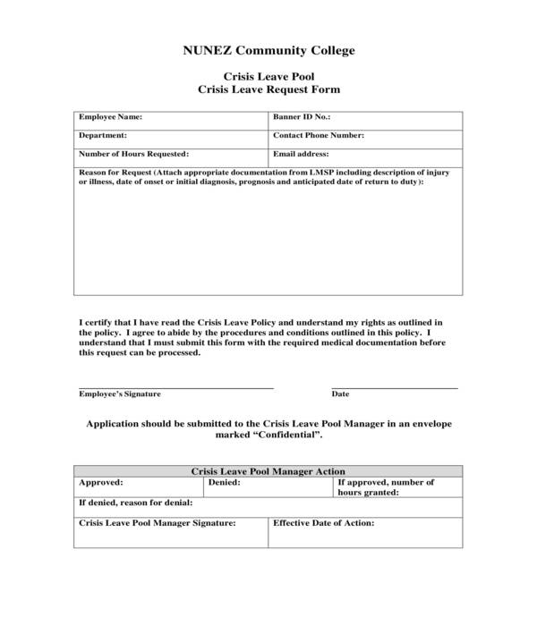 crisis leave request form
