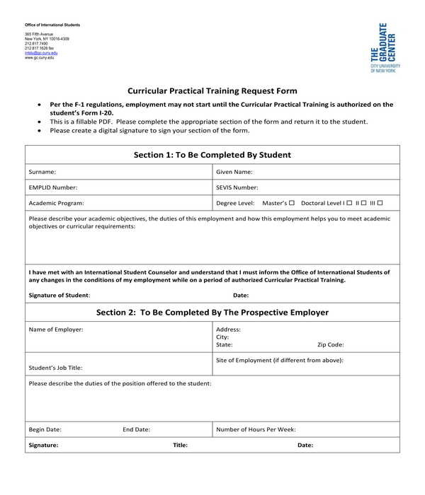 curricular practical training request form