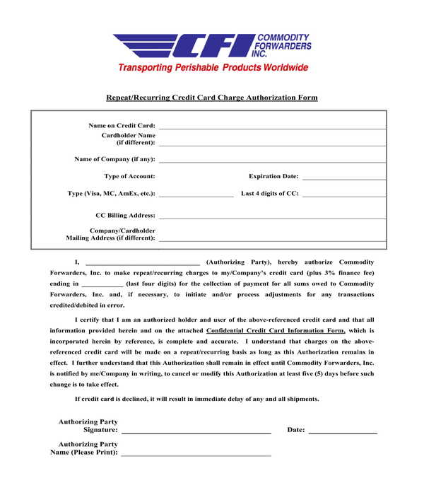 delivery recurring credit card authorization form