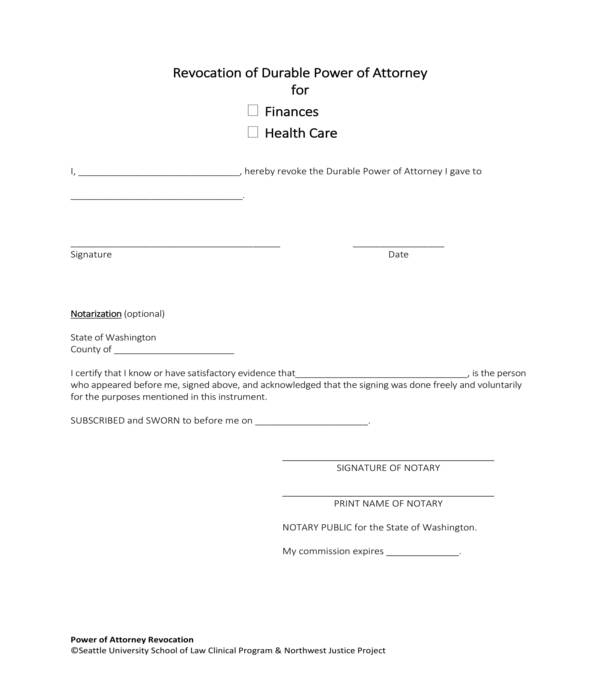 durable power of attorney revocation form