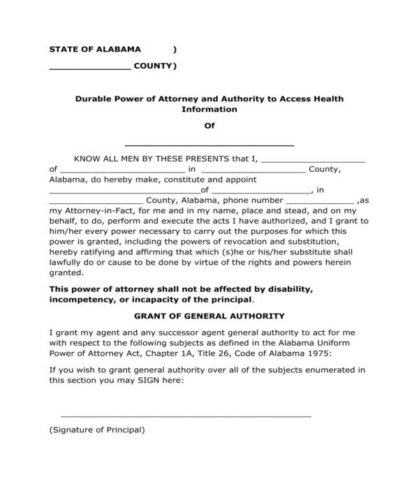 durable power of attorney and health information access form