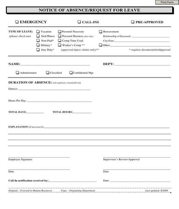 employee absence notice form