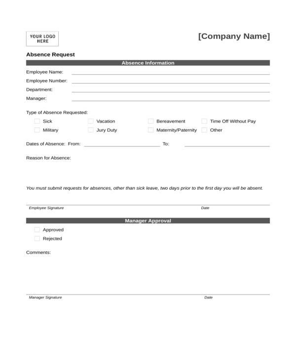 free 10  employee absence forms in pdf